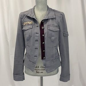 WHBM Military Cabernet Trimmed Jacket 6